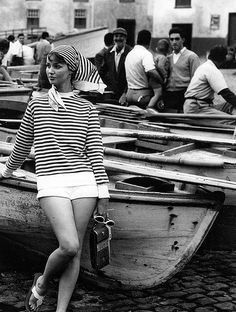 Dolores Hawkins wearing cotton-knit velour striped top with shorts and sandals by Bernardo, photo by Herman Landshoff in the Canary Islands, Mademoiselle, 1958 | Flickr - Photo Sharing!