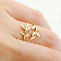 olive leaf gold ring