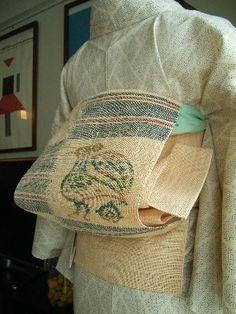 生成り絣の紗紬 + 植物布(しな布とか藤布とかの類
