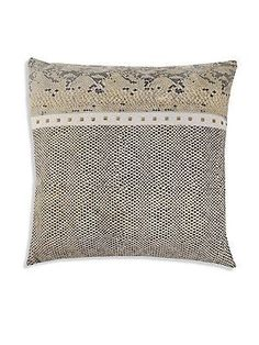 Callisto Home Studded Animal Embossed Leather Pillow - Wheat