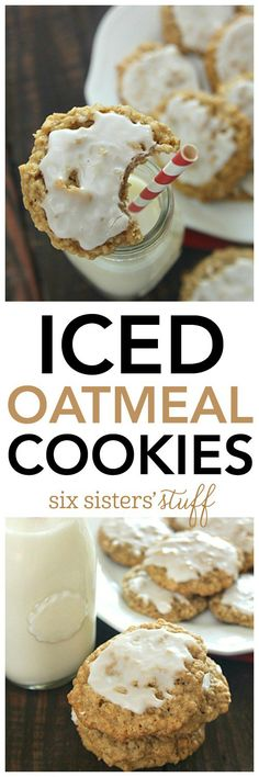 Chewy oatmeal cookies topped with the perfect layer of icing - these classic cookies are always a favorite! Oatmeal Cookie Recipes, Best Cookie Recipes, Oatmeal Cookies, Cookie Desserts, Fun Desserts, Delicious Desserts, Dessert Recipes, Yummy Cookies, Xmas Cookies