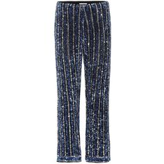Ganni Pfeiffer Sequinned Trousers (5 210 SEK) ❤ liked on Polyvore featuring pants, bottoms, blue, blue pants, sequin embellished pants, blue trousers, ganni and blue sequin pants