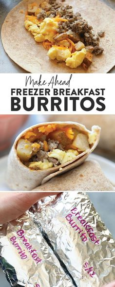 These make ahead breakfast burritos are the perfect grab-n-go breakfast choice for your busy mornings. They are packed with veggies and protein to keep your energy up all day. Make a double batch of these freezer breakfast burritos for an easy, healthy m Make Ahead Breakfast Burritos, Make Ahead Meals, Easy Meals, Breakfast Casserole, Meal Prep For Breakfast, Grab And Go Breakfast, Perfect Breakfast, Easy Breakfast Ideas, Meal Prep For Work