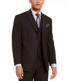 Sean John Classic Fit Black Pinstriped Flat Front Pre-Hemmed Dress Pants