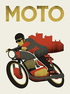Moto by Doublenaut Bike Poster, Motorcycle Posters, Motorcycle Art, Bike Art, Fine Art Posters, Art Deco Posters, Vintage Posters, Vintage Labels, Movie Posters