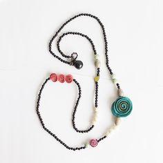 Charmed Getaway Necklace . Black Multi