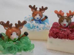 Christmas Reindeer Soap - Novelty Holiday Party Favor - Kids Handmade Decorative Soap - Moisturizing Glycerin Stocking Stuffer - Rudolph