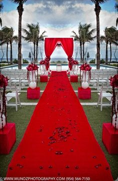 A Bride Dressed In White Wedding Gown Would Really Be The Center Of Attention With This Red Decor