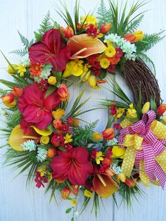 Lg SPRING SUMMER Wreath With A TROPICAL Flair