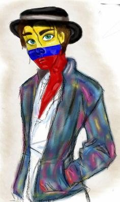 #colombia #countryhumans #colombiacountryhumans #tricolor Chile, Joker, America, Country, Painting, Fictional Characters, Art, Colombia, Countries