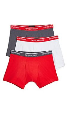 80d27d0160a6 Emporio Armani Men's Stretch Cotton Classic Logo Boxer Brief, 3-Pack,  Anthracite/Red/White, Small at Amazon Men's Clothing store:
