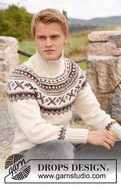 """Ivalo - Knitted DROPS jumper for men with round yoke and Norwegian pattern in """"Karisma"""". - Free pattern by DROPS Design Nordic Pullover, Nordic Sweater, Men Sweater, Drops Design, Fair Isle Knitting, Free Knitting, Drops Karisma, Knitting Patterns Boys, Norwegian Knitting"""