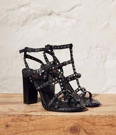 29b3994cb61 Ash LUCY Heeled Sandals Black Leather   Silver Studs