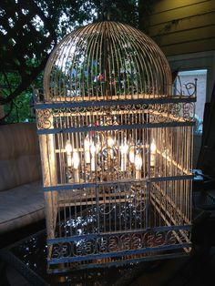 Giant birdcage chandelier