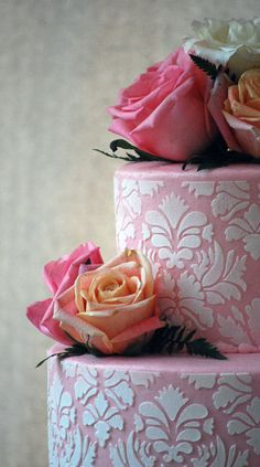 Pink And White Damask Wedding Cake With Roses