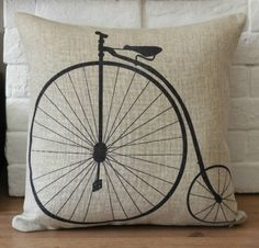 """1 linen simple bicycle / bike  throw pillow cover / decorative pillow case / cushion cover 18"""". $20.00, via Etsy."""
