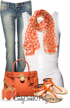 The worn out jeans and white tank make this look sort of boring! Spice is up with bright oranges and corals! This makes for the perfect sunny spring day outfit!