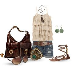 Ruffled Neutrals, created by hatsgaloore on Polyvore