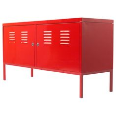 x2 side by side, spray paint, wood on top, behind couch...??? kids storage too.  IKEA PS Cabinet - red - IKEA