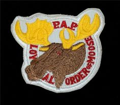 "Original Vtg. P.A.P. Loyal Order of Moose Patch - 3 1/8"" x 3 1/8"" Embroidered"