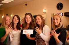 """Can you imagine getting engaged and having ugly and damaged nails? Me neither! Use the cash provided to get everyone's fingernails """"did"""". (hint: for yours, go with French Tips). Your next clue will be given when you are done.    Not only did Megan get her nails done, but he treated ALL of us!"""