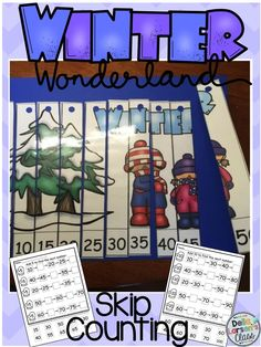 Winter themed skip counting by 5's and 10's. Increase number sense and counting skills with hands on math center. Bonus no prep printables. Perfect for homework, morning work, or substitiute folder.