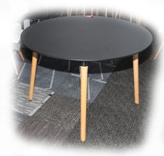 Kent 1100 Round Black Top Dining Table on Beech Legs - BRAND NEW
