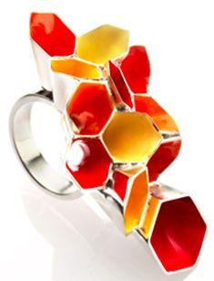 """Honeycomb Dream statement ring"" - Alexandra Tosto (silver, enamel)"