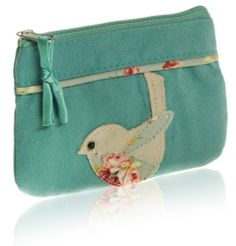 Mineral green Linen Applique Bird coin purse.Red Linen Applique Bird coin purse. Our fabulous Applique Bird collection is handmade in linen and is embellished with vintage inspired suedette and cotton applique birds, embroidered flowers and bead detailing. Size h 9cm x w 13cm. suedette & printed cotton with silk satin lining with zip closure Fair trade £5.97 http://www.amazon.co.uk/dp/B00ITVZVBA/ref=cm_sw_r_pi_dp_Mxkptb146Q2Y2