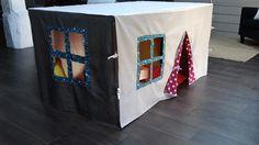 La nappe cabane en tissu - sur mesure avec porte et fenêtres : Jeux, jouets par caneline