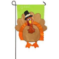 1 ft. x 1-1/2 ft. Applique Gobble Turkey 2-Sided Garden Flag