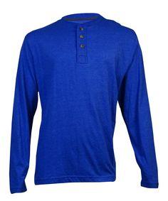 John Ashford Men's Long-Sleeve Quarter Button Shirt (Lazulite, XL)