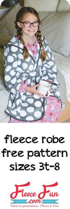 Child Fleece Robe DIY (free Pattern) - Fleece Fun - Sewing projects, sewing patterns free, sewing for beginners, fleece hat pattern free , Sewing Patterns Free, Free Sewing, Free Pattern, Knitting Patterns, Pattern Sewing, Clothes Patterns, Easy Patterns, Sewing Projects For Beginners, Knitting For Beginners