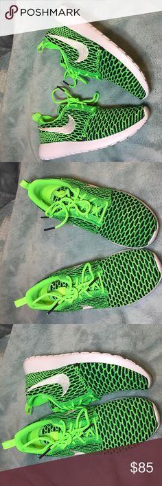 Women's Nike roshe Flyknit Brand New Brand new in box women's Nike Flyknit bright neon green and black Nike Shoes Athletic Shoes
