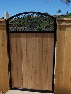Decorative iron walk gate with wood inlaid