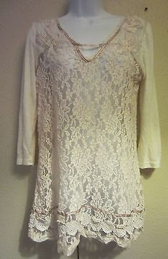 Women's M Gimmicks BKE Pieced Lace Tunic Shirt Ivory Cream in Clothing, Shoes & Accessories | eBay