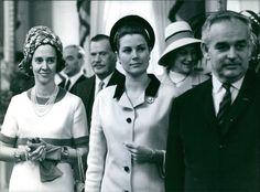 Fabiola of Belgium with Grace and Rainer, 1969.