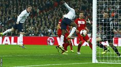 Oct. 15 th. 2013 Wayne Rooney scores for England just before half - time against Poland in the World Cup qualifier.