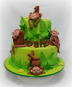 Cheeky Monkeys First Birthday Cake - This cake was made for little Joshua who is a cheeky little monkey himself and is celebrating his first birthday. His mum wanted a monkey themed cake as Joshua loves monkeys, has his room decorated with some monkeys and has monkey invitations for his party.