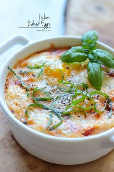 Italian Baked Eggs - You'll never believe that these marinara cheesy baked eggs can be made in just 10 minutes for a complete breakfast! @Trent Butts-Ah Rhee