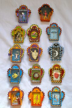 Mexican altar boxes matchbox size mixed media collage for traditional mexican decor or gifts to friends and family frida kahlo inspired decor Matchbox Crafts, Matchbox Art, Mexican Crafts, Mexican Folk Art, Tin Art, Thinking Day, Assemblage Art, Religious Art, Art Plastique