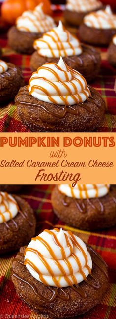 These moist Pumpkin Donuts are topped with a silky sweet and slightly tangy Salted Caramel Cream Cheese Frosting! They& super light and fluffy and full of pumpkin and fall spice flavours. Pumpkin Deserts, Vegan Pumpkin, Pumpkin Recipes, Pumpkin Donuts Recipe, Pumpkin Spice, Donut Recipes, Baking Recipes, Dessert Recipes, Dessert Ideas