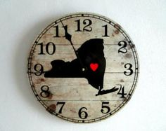 State Wall Clock - State with Heart - New York State Wall Art - Rustic Home Decor - Rustic Wall Decor - Unique Wall Clock