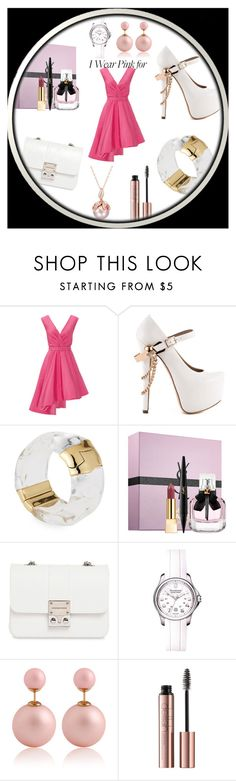 """""""Lady in Pink"""" by tainted-scars ❤ liked on Polyvore featuring Christian Siriano, ZiGiny, Alexis Bittar, Yves Saint Laurent, Design Inverso, Victorinox Swiss Army and IWearPinkFor"""