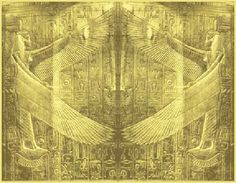The Winged Gaurdians of the Gate found at several places in Egypt, one of which is these Egyptian Cherubim (winged creatures) on Tutankhamen Shrine.