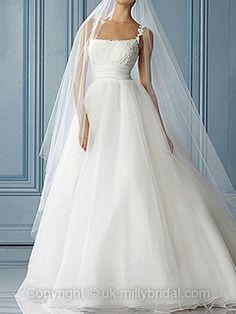 Ball Gown Spaghetti Straps Organza Satin Sweep Train White Appliques Wedding Dresses -GBP£159.00 millie bridal