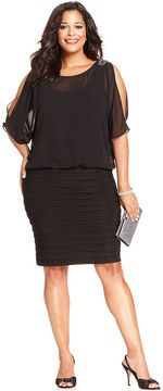 R&M Richards Plus Size Dress, Three-Quarter-Sleeve Split Shutter Pleat on shopstyle.co.uk