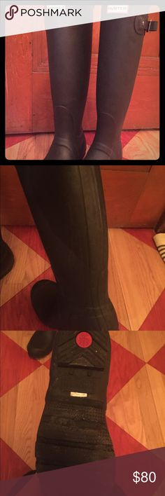 Black Hunter Rain Boots Really great condition. Some signs of wear, but really good still! Not glossy - come with box. Offers welcome Hunter Boots Shoes Winter & Rain Boots