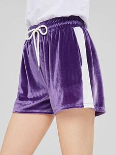Two Tone Velvet Shorts - Purple - Purple S - zaful Black High Waisted Shorts, Velvet Shorts, Short Models, Athleisure Fashion, Orange Shorts, Pop Fashion, Gym Shorts Womens, Bella, Construction