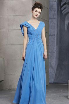 Royal Blue Chiffon Floor-Length A-Line Dress -